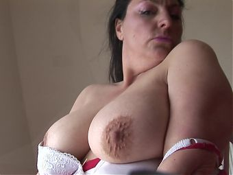 Busty mature brunette with big hairy pussy teasing