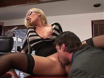 Blonde fucked in the office
